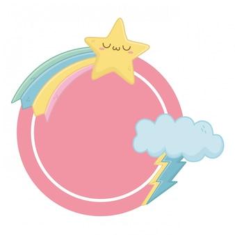 Kawaii di stelle dei cartoni animati