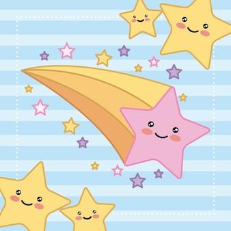 Kawaii stars brillante felice fumetto illustrazione vettoriale