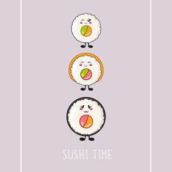 Sushi kawaii, rotolo - logo o banner su sfondo colorato, cucina tradizionale giapponese o asiatica