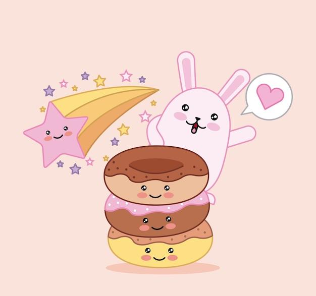 Cartone animato kawaii dolce gatto e ciambella stella felice