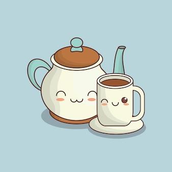 Teiera e tazza di caffè kawaii