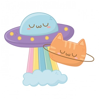 Kawaii di ufo con cartoon gatto