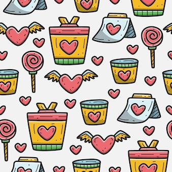 Kawaii valentine cartoon doodle pattern