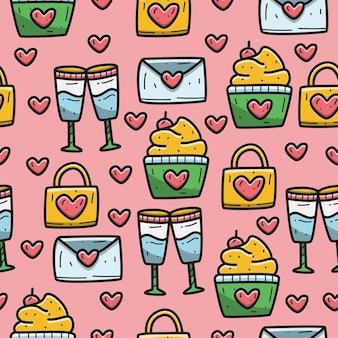 Kawaii valentine cartoon doodle pattern