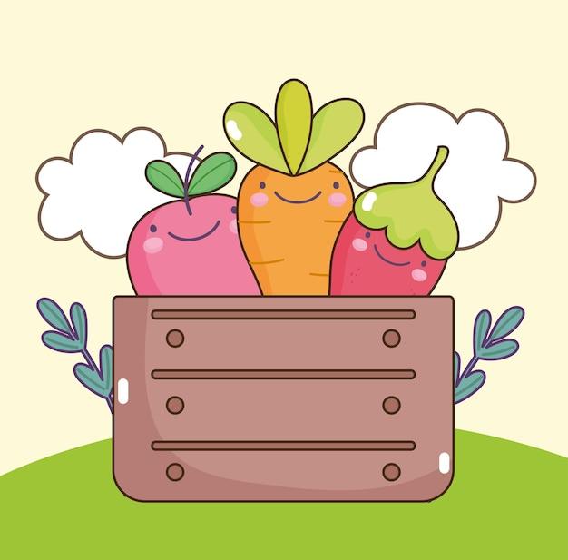 Verdure kawaii in scatola