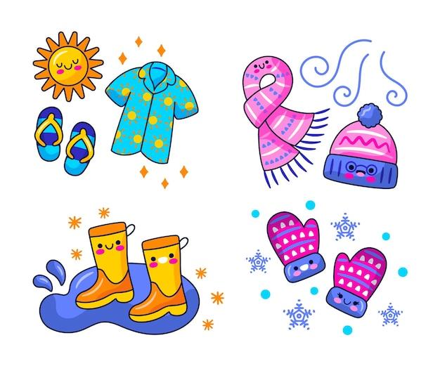 Illustrazione di adesivi meteo kawaii