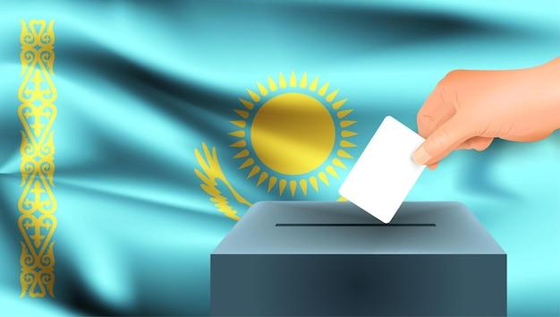 Bandiera del kazakistan una mano maschile che vota con lo sfondo della bandiera del kazakistan