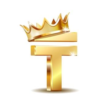 Simbolo di valuta tenge kazako con corona d'oro