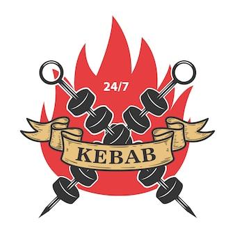 Modello di emblema di kebab. fast food.