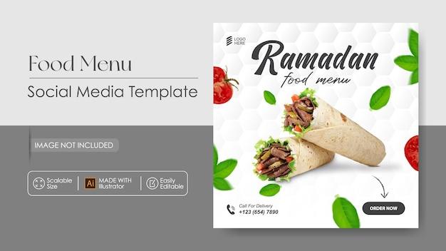 Promozione sui social media di cibo kebab e modello di progettazione di instagram