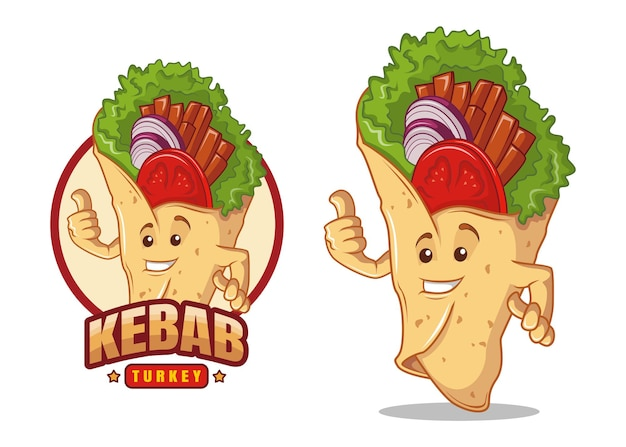 Kebab turchia personaggio dei fumetti mascotte design