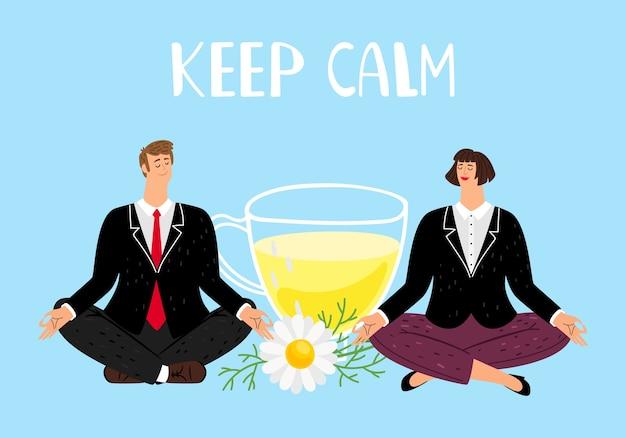 Mantieni la calma. persone di affari che meditano