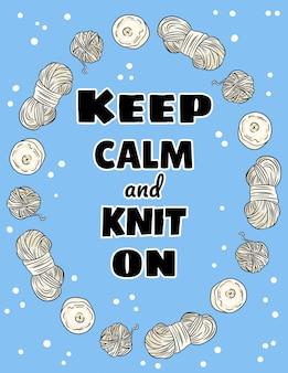 Mantieni la calma e lavora a maglia su una cartolina. filati di cotone e candele artigianali. disegno a mano illustrazione.