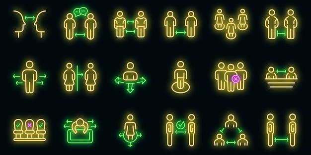 Mantieni le icone della distanza impostate. delineare il set di icone vettoriali per mantenere la distanza di colore neon su nero