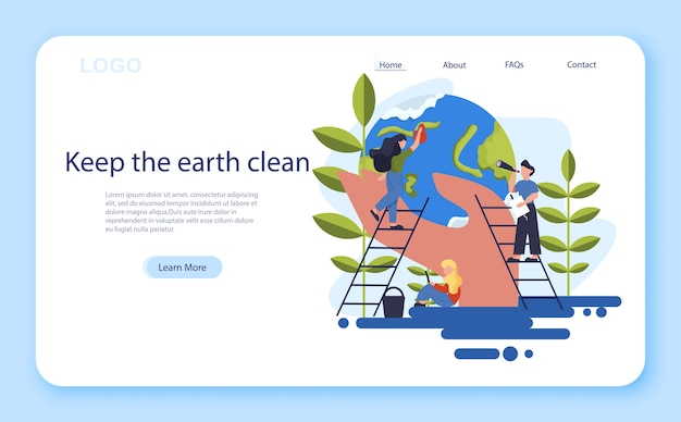 Mantieni un'idea pulita della terra. riciclare e pulire. ecologia e cura dell'ambiente. idea di riutilizzo dei rifiuti. banner web.