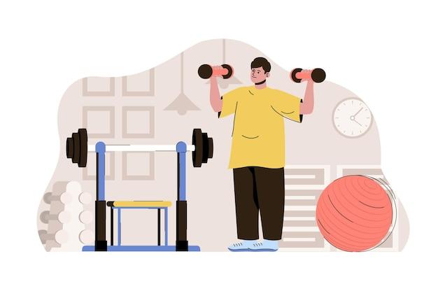 Mantieniti in forma concetto uomo che si esercita con i manubri facendo allenamenti in palestra