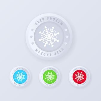 Mantieni il segno congelato, pulsante in stile 3d. raffreddamento