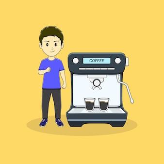 Mantieni lo spirito uomo con la macchina del caffè