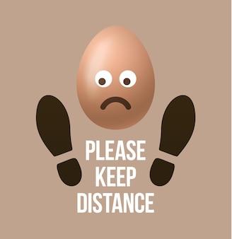 Mantieni la forma della scarpa dell'impronta del segno della distanza con l'emoji dell'uovo di pasqua