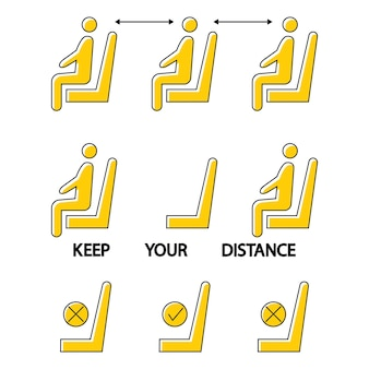 Mantieni le distanze non sederti qui icona proibita per il posto distanza sociale in uno spazio pubblico