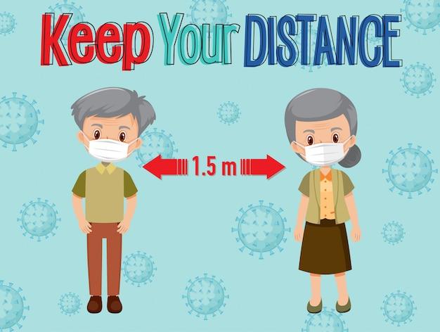 Mantieni la distanza o il segnale di allontanamento sociale con i personaggi dei catoon di persone anziane