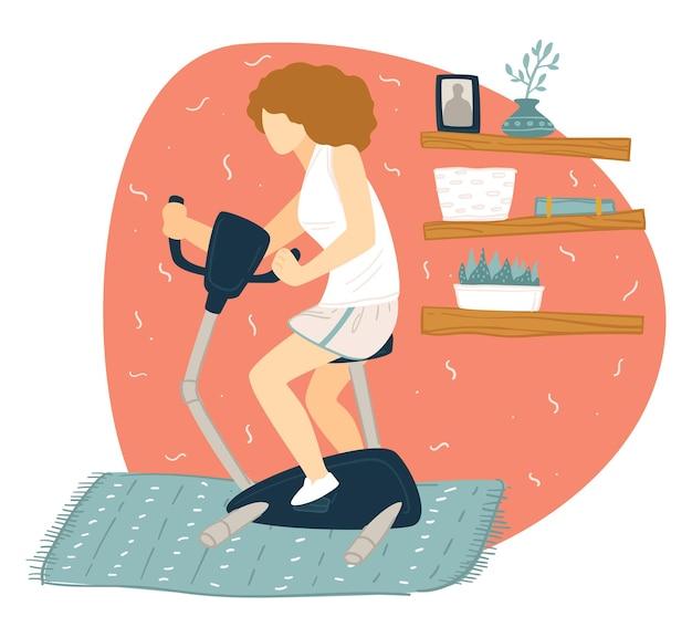 Mantenersi in forma e condurre uno stile di vita sano, pedalare il personaggio femminile a casa. signora che fa esercizi fisici durante la quarantena del coronavirus. forza e hobby sportivo della ragazza, vettore in stile piatto