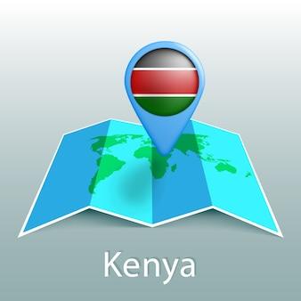 Mappa del mondo di bandiera kenya nel pin con il nome del paese su sfondo grigio