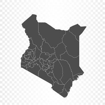 Mappa del kenya su sfondo trasparente
