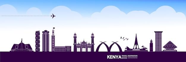 Grande illustrazione della destinazione di viaggio del kenya