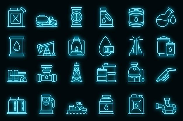 Set di icone di cherosene. contorno set di icone vettoriali di cherosene colore neon su nero