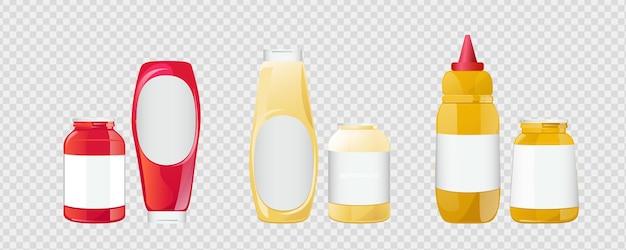 Le salse della senape della maionese del ketchup in bottiglie e barattoli hanno messo l'illustrazione isolata realistica di vettore