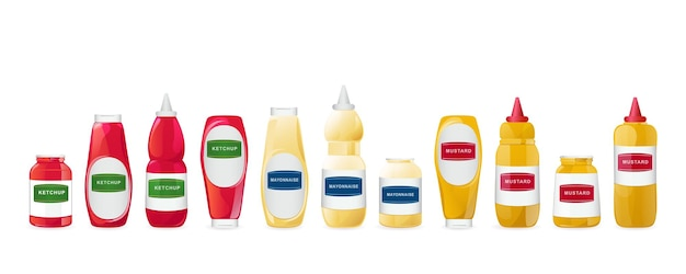 Le salse della senape della maionese del ketchup in bottiglie hanno messo l'illustrazione realistica isolata su fondo bianco