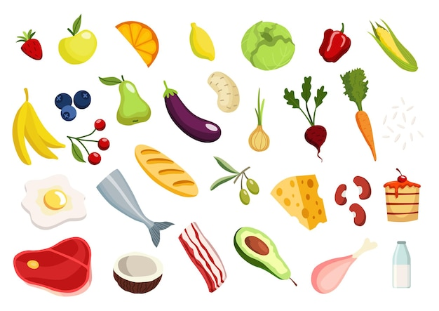 Dieta cheto, set di icone di cibo. cura nutrizionale sana, dieta. diversi tipi di cibo. frutti di bosco e noci. semi, carne uova e latticini