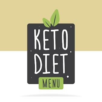 Etichetta o poster del menu dieta cheto. vector piatta illustrazione. concetto di mangiare sano.