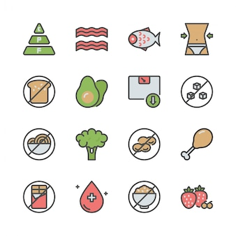 Dieta chetogenica nel set di icone colorline