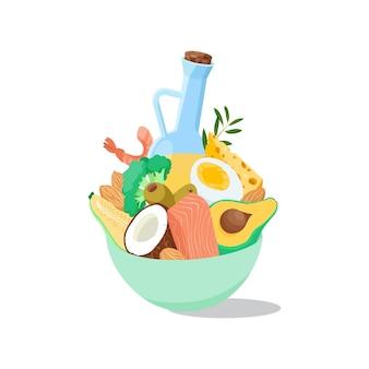 Alimenti e prodotti chetogenici cocco broccoli avocado salmone e gamberetti mandorle e olive