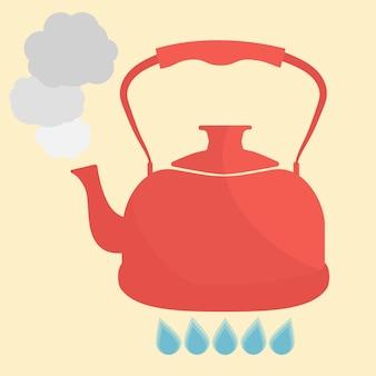 Il bollitore bolle con l'illustrazione di vettore di stile piano dell'acqua. utensili da cucina illustrazione stock.