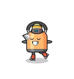 Bollitore del fumetto come un giocatore di pattinaggio sul ghiaccio che si esibisce, design in stile carino per maglietta, adesivo, elemento logo