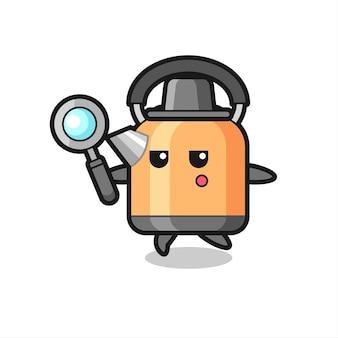 Personaggio dei cartoni animati di bollitore che cerca con una lente d'ingrandimento, design in stile carino per maglietta, adesivo, elemento logo