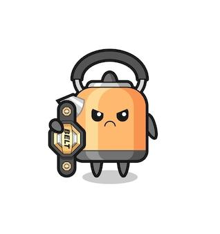 Personaggio mascotte bollitore come combattente mma con la cintura del campione, design in stile carino per t-shirt, adesivo, elemento logo