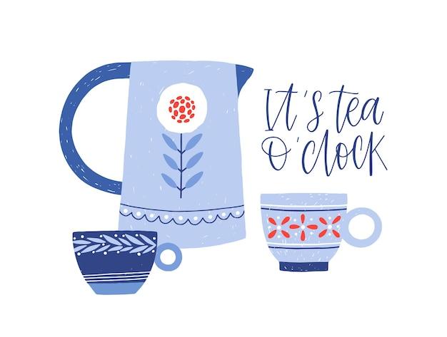 Bollitore e tazze da tè illustrazione piatta. stoviglie dipinte a mano