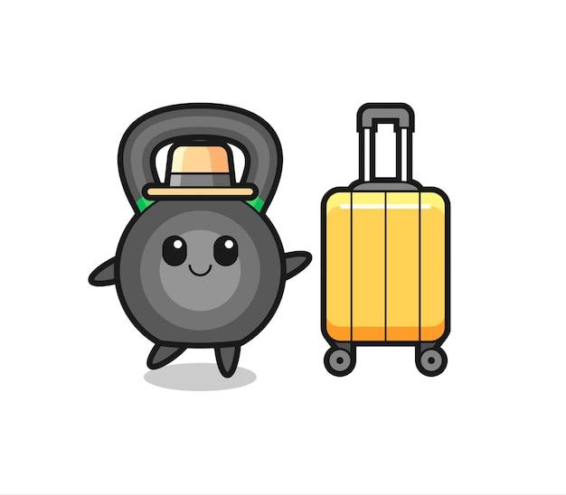 Illustrazione del fumetto di kettlebell con i bagagli in vacanza, design in stile carino per t-shirt, adesivo, elemento logo