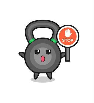 Illustrazione del personaggio di kettlebell con un segnale di stop, design in stile carino per maglietta, adesivo, elemento logo