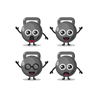 Simpatico personaggio mascotte kettlebell