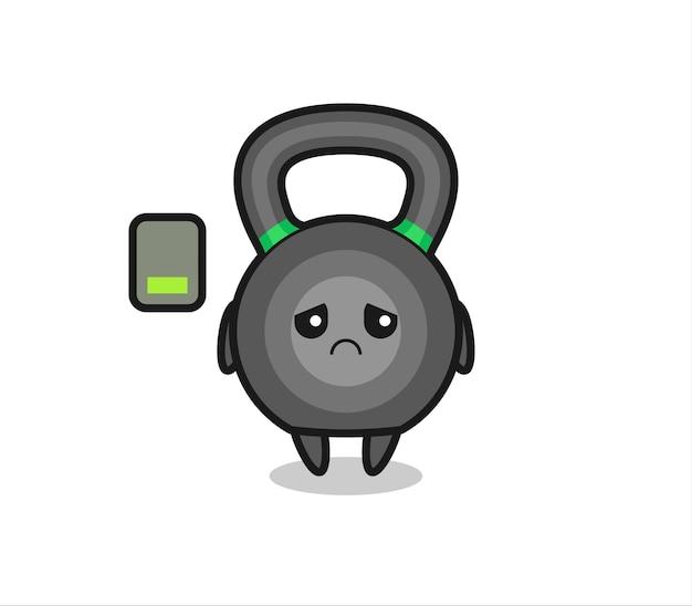 Personaggio mascotte kettlebell che fa un gesto stanco, design in stile carino per maglietta, adesivo, elemento logo
