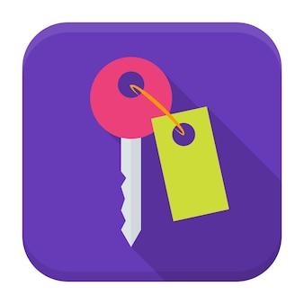 Icona dell'app chiave con ombra lunga. icona di app quadrata stilizzata piatta con lunga ombra