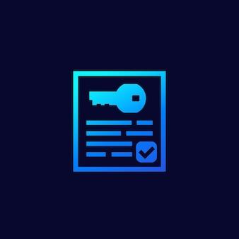 Icona chiave e documento per il web