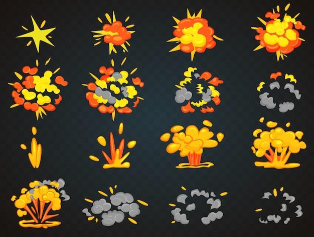 Fotogrammi chiave dell'animazione dell'esplosione del fumetto della bomba. illustrazione di vista superiore e frontale del colpo