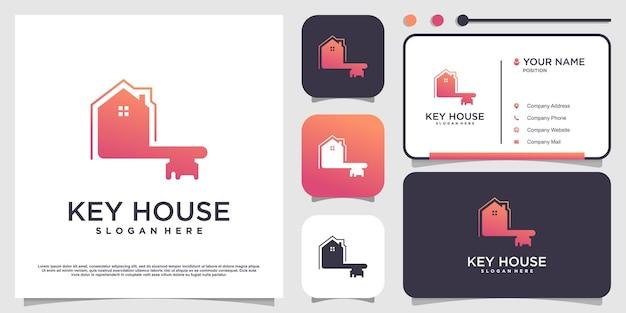 Design del logo della casa chiave con un concetto moderno vettore premium