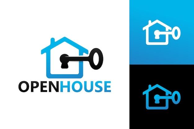 Vettore premium del modello di logo della casa aperta chiave